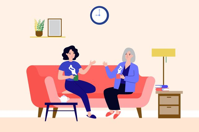graphic of younger and older woman on sofa