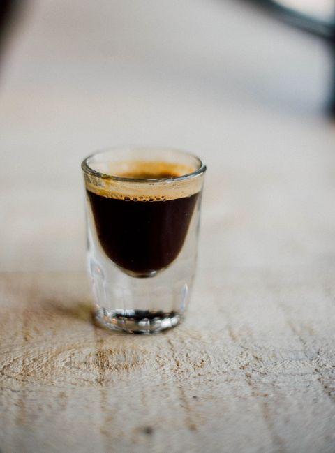 Drink, Liqueur, Liqueur coffee, Distilled beverage, Coffee, Pint glass, Shot glass, Espresso, Cup, Black drink,