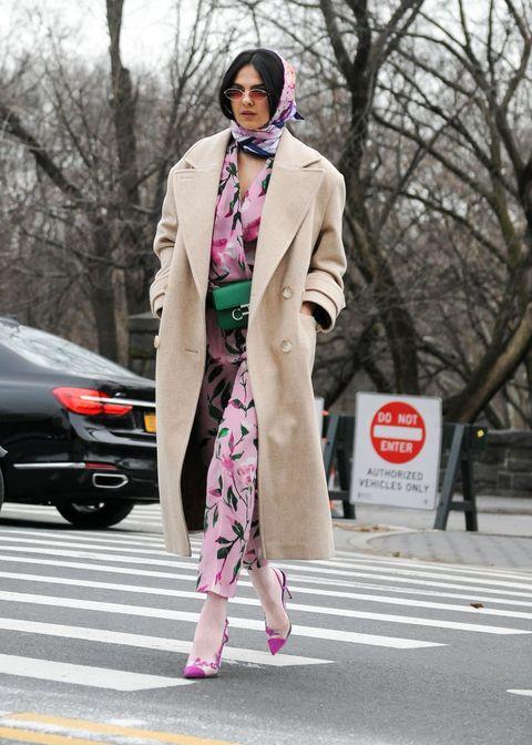 Clothing, Pink, Street fashion, Fashion, Coat, Trench coat, Snapshot, Outerwear, Fur, Fashion model,