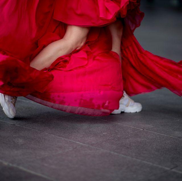 Red, Pink, Dance, Footwear, Performing arts, Leg, Magenta, Shoe, Dress, Performance art,