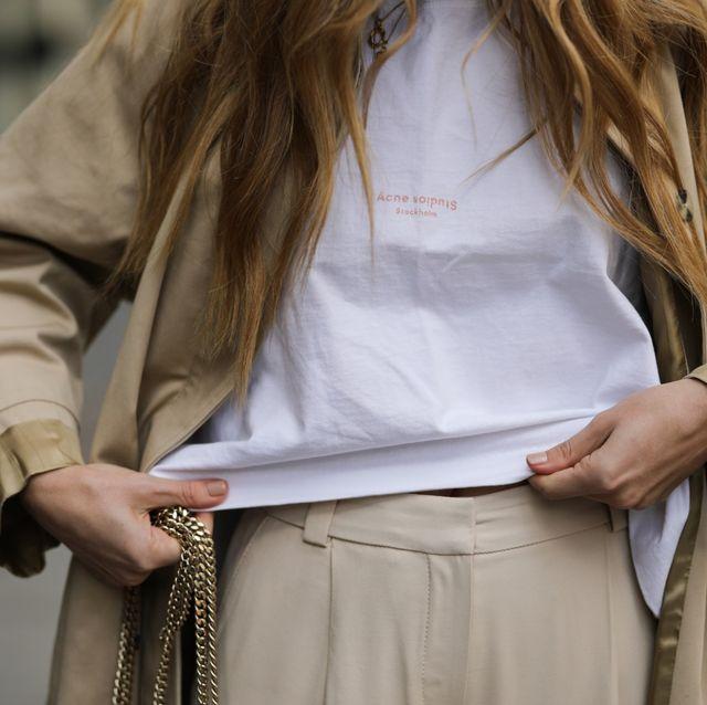 White, Street fashion, Clothing, Fashion, Outerwear, Hairstyle, Shoulder, Waist, Beige, Blond,
