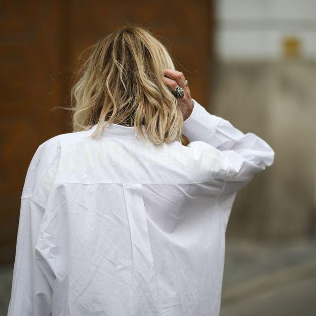 Hair, White, Photograph, Shoulder, Hairstyle, Blond, Long hair, Fashion, Street fashion, Arm,