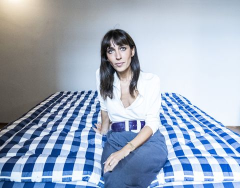 Blue, Beauty, Plaid, Textile, Sitting, Bed sheet, Bed, Room, Bedding, Leg,