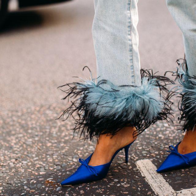 Footwear, Blue, Turquoise, Street fashion, Shoe, Leg, Fur, Fashion, Feather, Ankle,