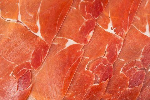 Prosciutto, Bayonne ham, Jamón serrano, Food, Salt-cured meat, Capicola, Red meat, Meat, Animal fat, Back bacon,