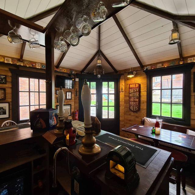 interior of a pub built in a backyard