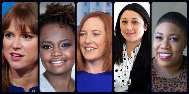 the women of the white house communications team kate bedingfield, pili tobar, jen psaki, karine jeanpierre symone d sander