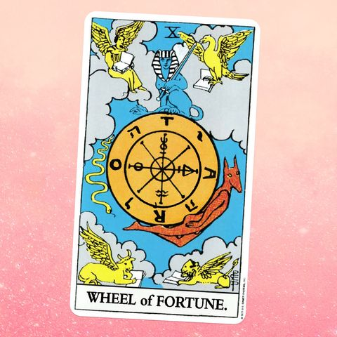 the tarot card the wheel of fortune, showing mythical animals in the sky surrounding a giant wheel