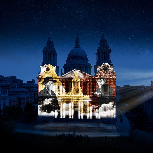 Sky, Landmark, Architecture, Blue, Light, Night, Building, Place of worship, Basilica, Church,