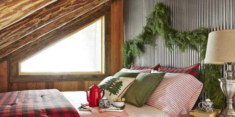 Bedroom, Room, Furniture, Interior design, Bed, Property, Window covering, Curtain, Bedding, Red,