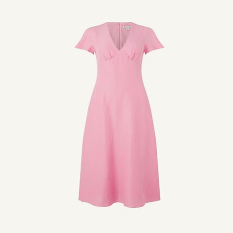 roze midi jurk met vhals
