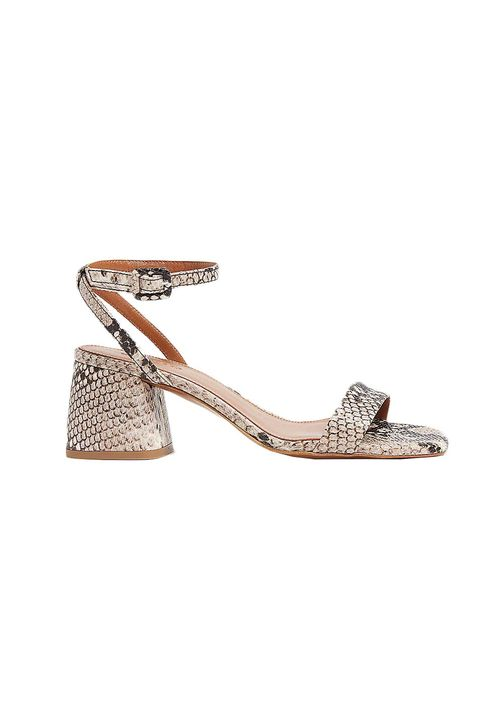 whistles selfridges snake flared heel sandals block heel