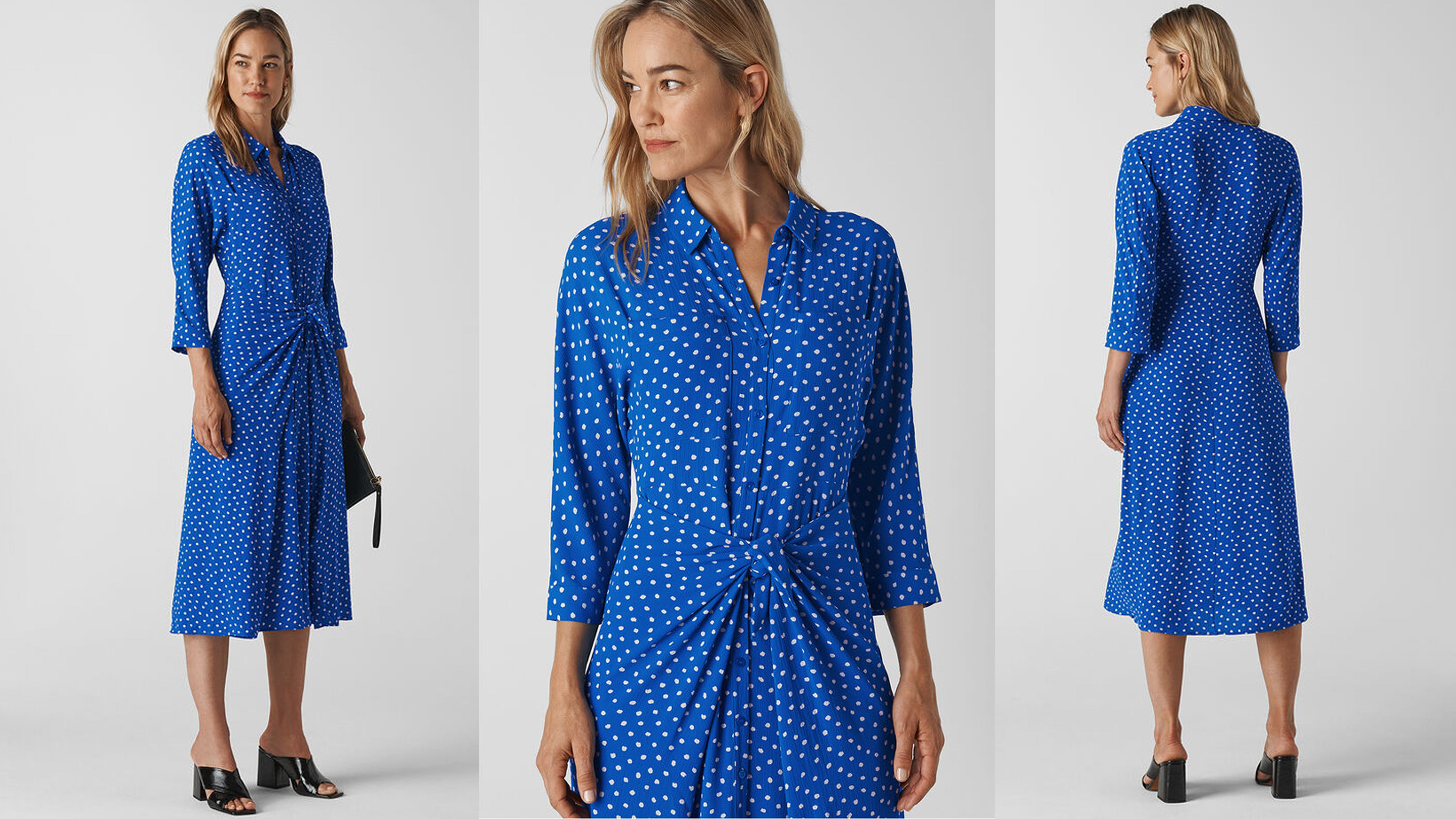 Whistles has re-stocked its popular polka-dot dress in a new colour