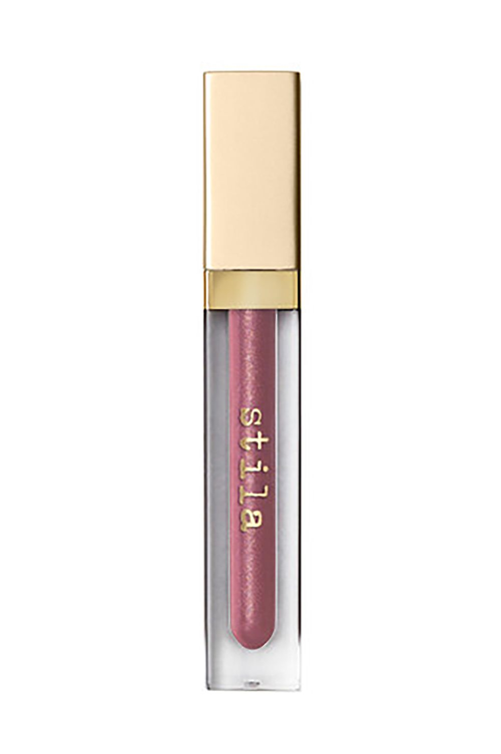 Shimmery Rose Stila Beauty Boss Lip Gloss in Synergy, $15 SHOP IT Spring urges you have to more fun with your makeup. This $15 steal is a pinky rose shade infused with specks of gold shimmer when you're feeling extra.