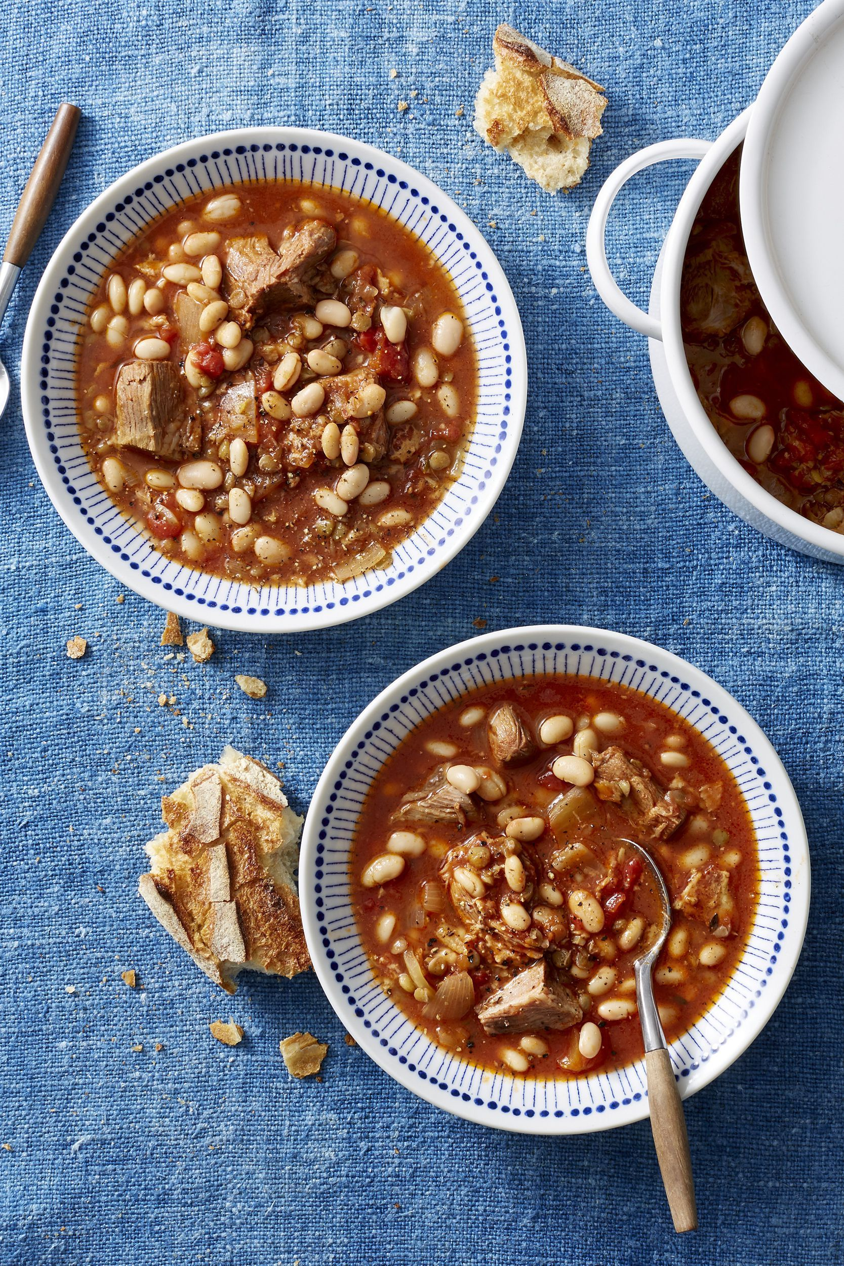 white bean cassoulet with pork and lentils - thanksgiving crock pot recipes