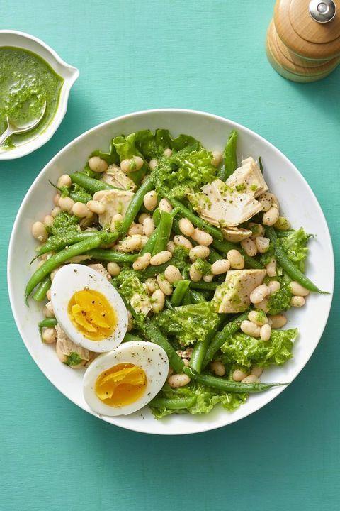 hearty salad recipes   white bean and tuna salad with basil vinaigrette