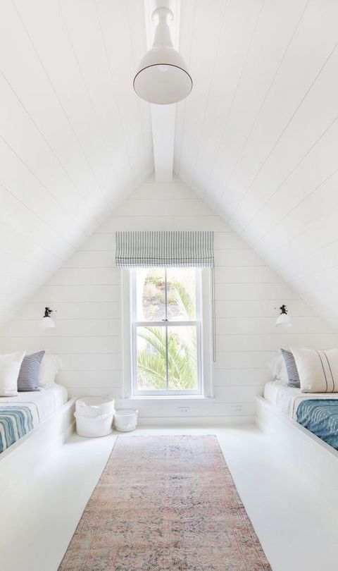 Farrow & Ball All White paint color in a bedroom in an attic bedroom with shiplap and built-in beds. Come Tour 16 Soothing Paint Colors for a Tranquil Bedroom Retreat!