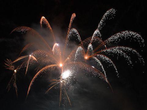 Nature, Event, Photograph, Night, Darkness, Fireworks, Atmospheric phenomenon, Orange, Amber, Midnight,
