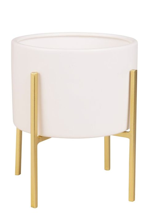 White Ceramic Footed Planter with Gold Feet H 19, Maisons du Monde