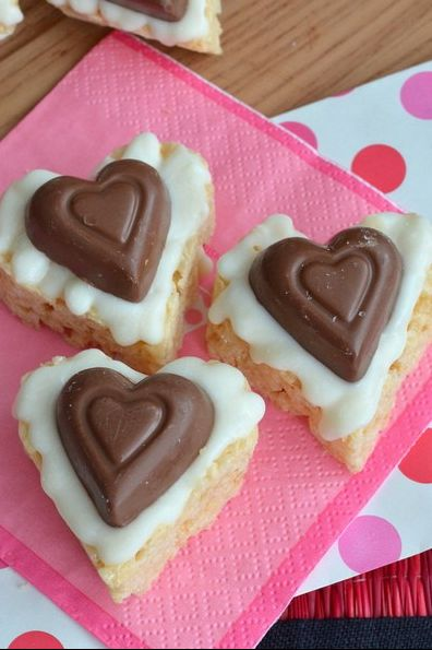 white chocolate reeses rice krispies - heart shaped foods