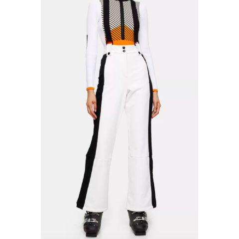 white colour block flare ski trousers by topshop sno