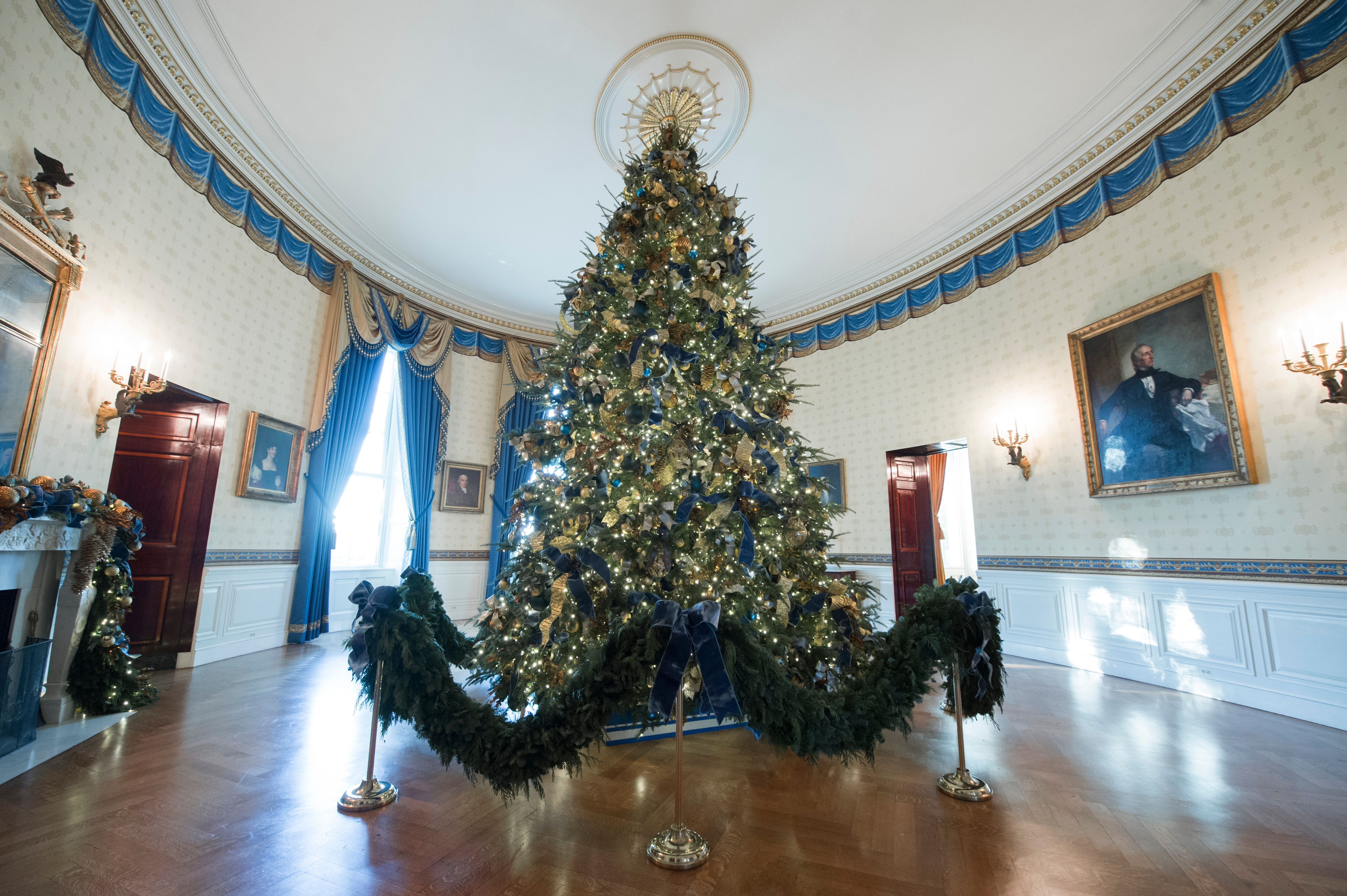 holiday afp decorations decor my christmas bathroom dogs obama getty michelle unveils web house white value
