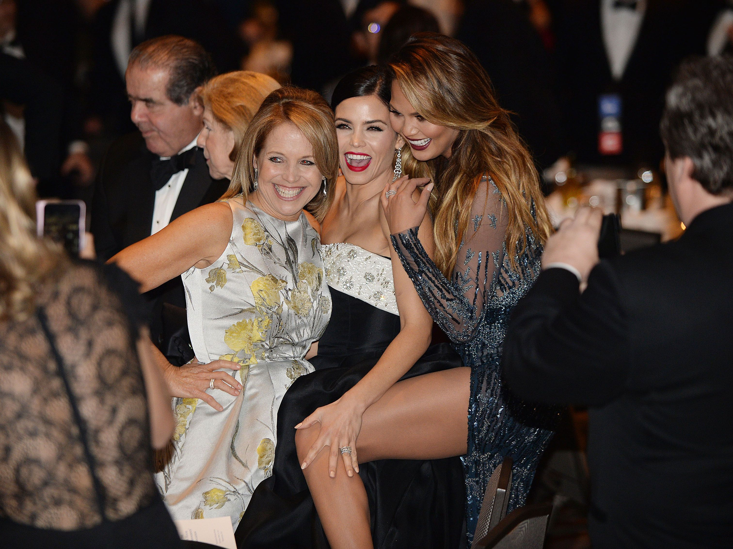 Katie Couric, Jenna Dewan-Tatum, and Chrissy Teigen at the White House Correspondent's Dinner in 2015