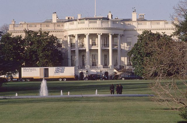 20th january 1993  removal vans at the white house after president clinton's possessions were moved from little rock, arkansas  photo by ron sachsconsolidated news picturesgetty images