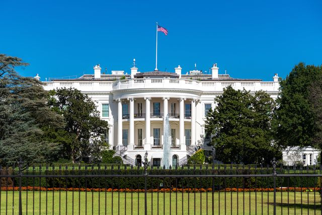 white house on deep blue sky background in washington dc, usa
