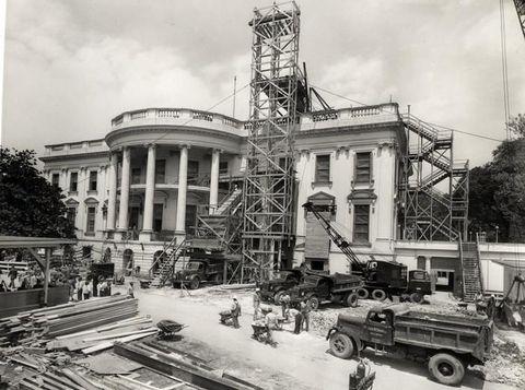 the white house reconstruction under president harry s truman, circa 1950