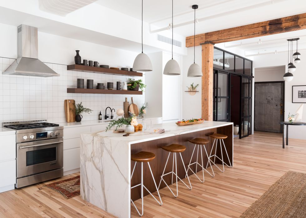 All White Modern Kitchen Elle Decor