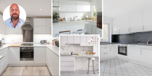 collage of white kitchens with inset portrait