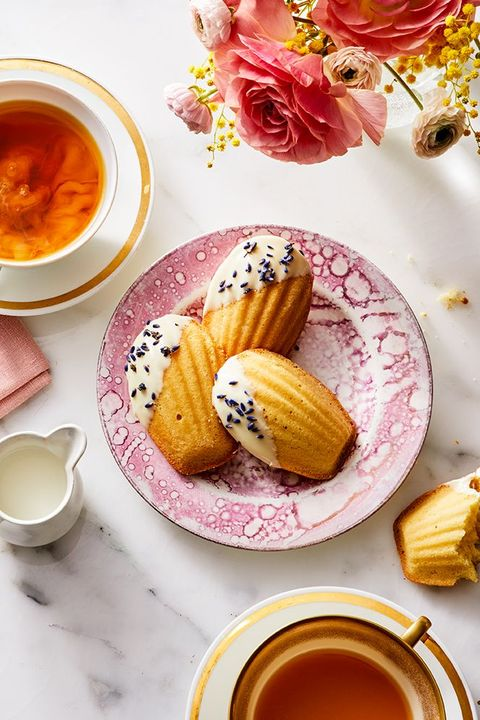white chocolate and lavender madeleines