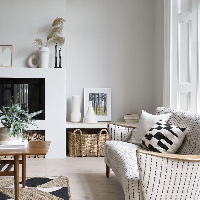 white living room painted in romney wool, dulux heritage
