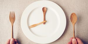 white plate with spoon and fork, Intermittent fasting concept, ketogenic diet, weight loss