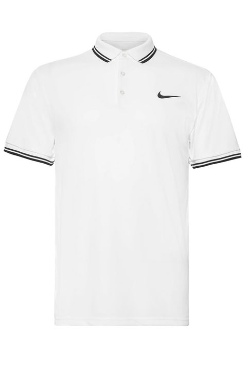 Clothing, White, T-shirt, Polo shirt, Collar, Sleeve, Active shirt, Top, Sportswear,