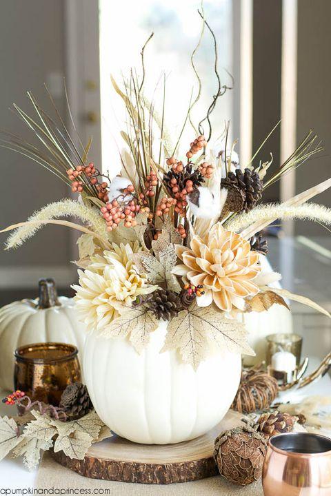 diy white pumpkin vase centerpiece