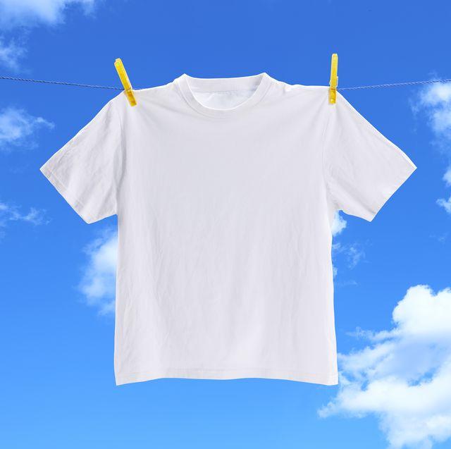 white tee shirt on washing line