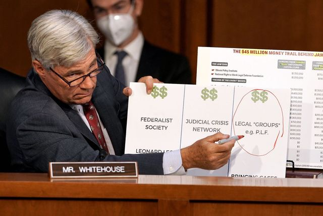 sen sheldon whitehouse d rispeaks while making a presentation as judge amy coney barrett appears before the senate judiciary committee on day two of the senate judiciary committee hearings on capitol hill in washington, dc, on october 13, 2020   president donald trump's us supreme court nominee amy coney barrett faces a sharply divided senate october 13, 2020 for her first question and answer session, with republicans praising her faith and qualifications and democrats set to bombard her over healthcare photo by greg nash  pool  afp photo by greg nashpoolafp via getty images