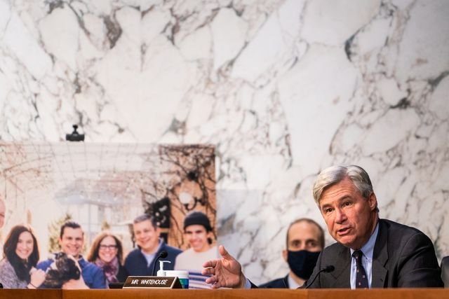 washington, dc   october 14 senator sheldon whitehouse d ri during the senate judiciary committee hearing of supreme court nominee amy coney barrett on october 14, 2020 in washington, dc with less than a month until the presidential election, president donald trump tapped amy coney barrett to be his third supreme court nominee in just four years if confirmed, barrett would replace the late associate justice ruth bader ginsburg photo by demetrius freeman   poolgetty images