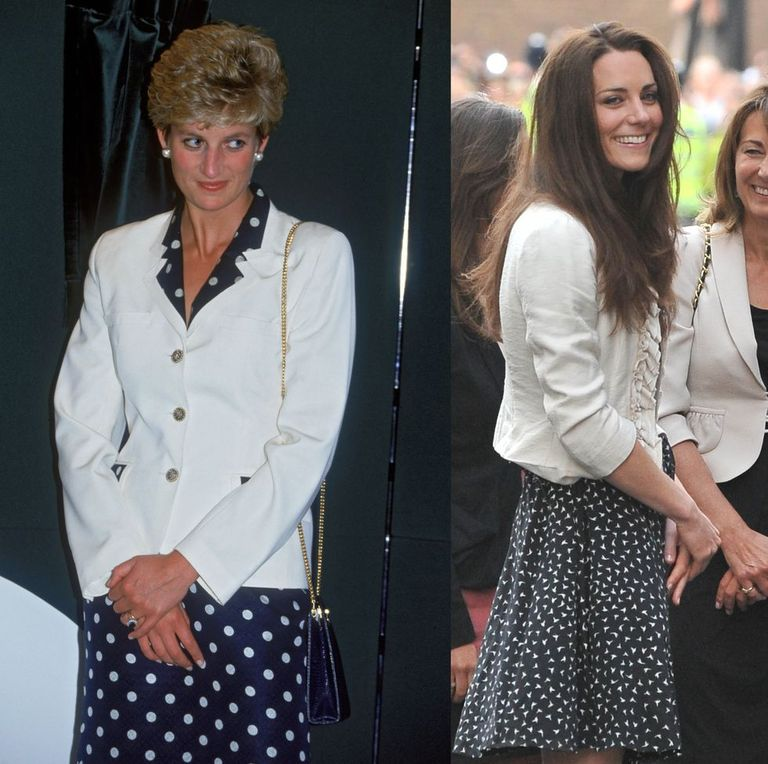 Diana in a graphic frock and a white jacket while visiting Wales in 1993; Kate in a printed dress and an ochre coat the day before her wedding in 2011.