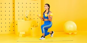 reverse lunge dumbbell curl