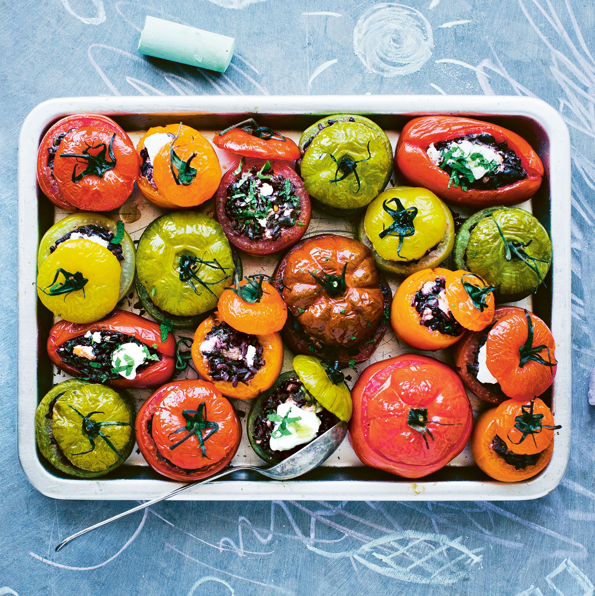 Stuffed Rainbow Tomatoes