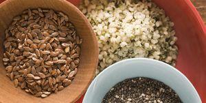 Whole flaxseeds chia seeds and hemp seeds