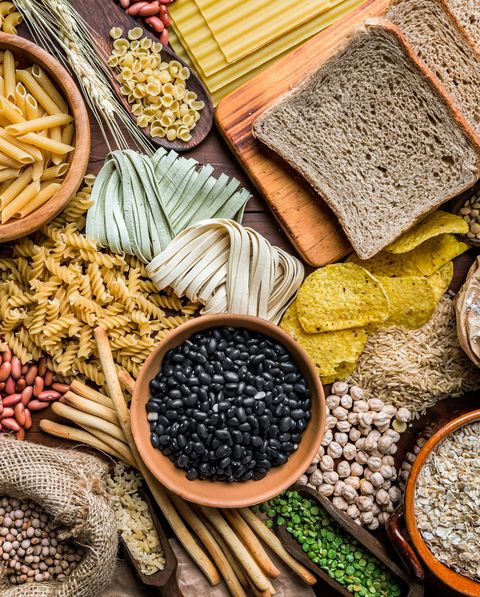 wholegrain and dietary fiber food on rustic wooden background