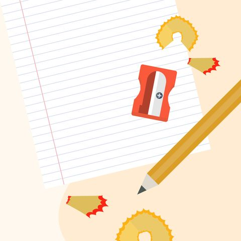 illustrated pencil, pencil sharpener and paper