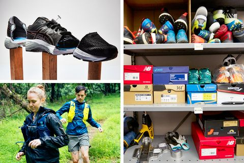 Footwear, Shoe, Hiking equipment, Shelf, Room, Collection, Athletic shoe, Skate shoe, Closet,