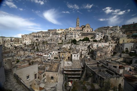 Wide angle view of anceint Italian city