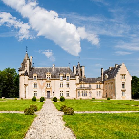 Wide angle view of french style castle