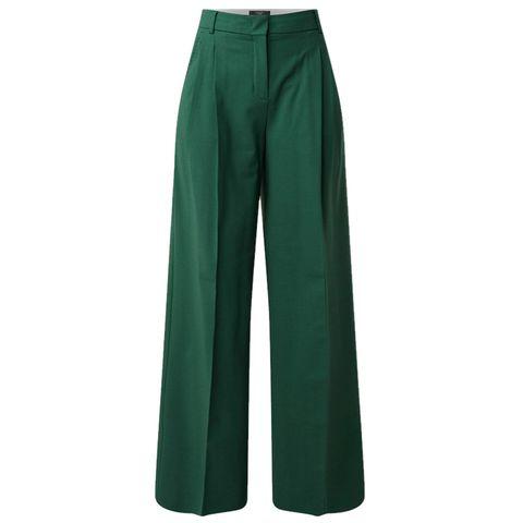wide fit pantalon in donkergroen van weekend maxmara via de bijenkorf